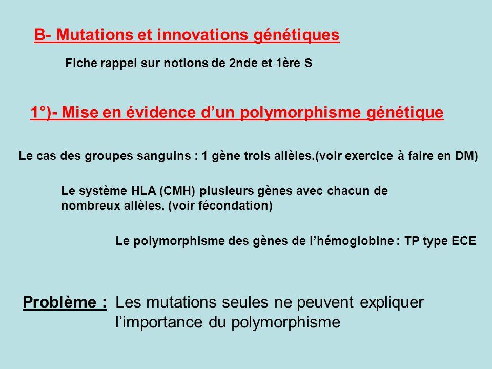 B- Mutations et innovations génétiques Fiche rappel sur notions de 2nde et 1ère S 1°)- Mise en évidence dun polymorphisme génétique Le système HLA (CM
