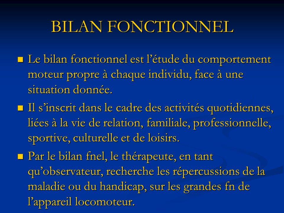 BILAN FONCTIONNEL Le bilan fonctionnel est létude du comportement moteur propre à chaque individu, face à une situation donnée.
