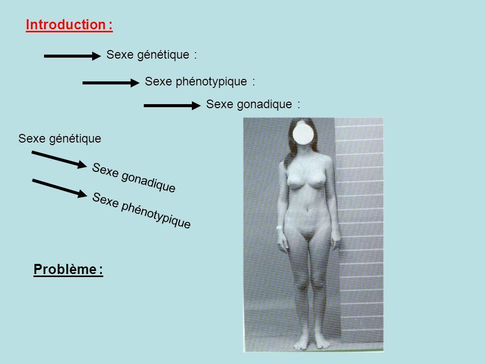 Introduction : Sexe génétique : Sexe phénotypique Sexe gonadique : Sexe génétique Sexe phénotypique : Sexe gonadique Problème :