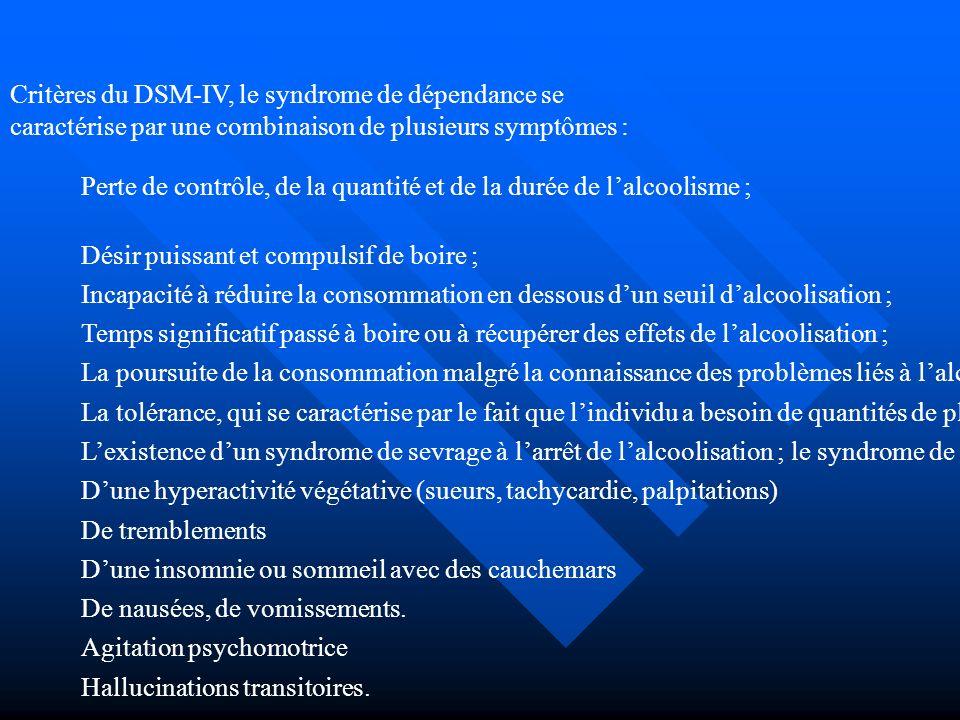 Critères du DSM-IV, le syndrome de dépendance se caractérise par une combinaison de plusieurs symptômes : Perte de contrôle, de la quantité et de la d