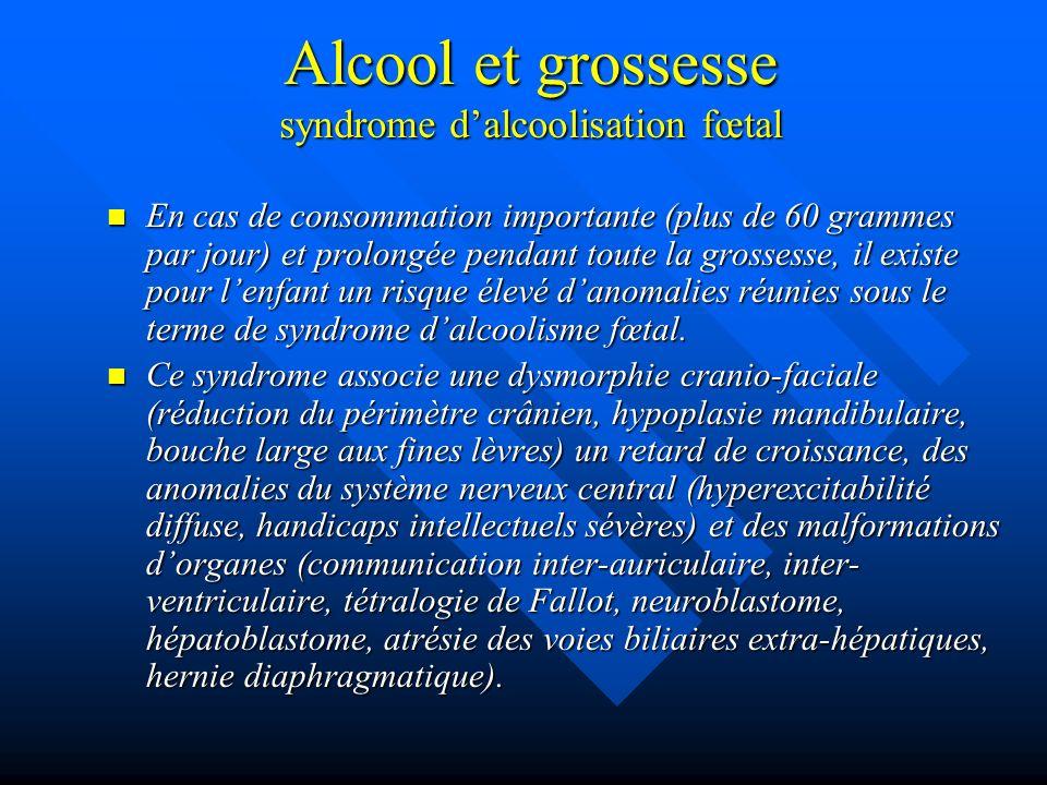 Alcool et grossesse syndrome dalcoolisation fœtal En cas de consommation importante (plus de 60 grammes par jour) et prolongée pendant toute la grosse