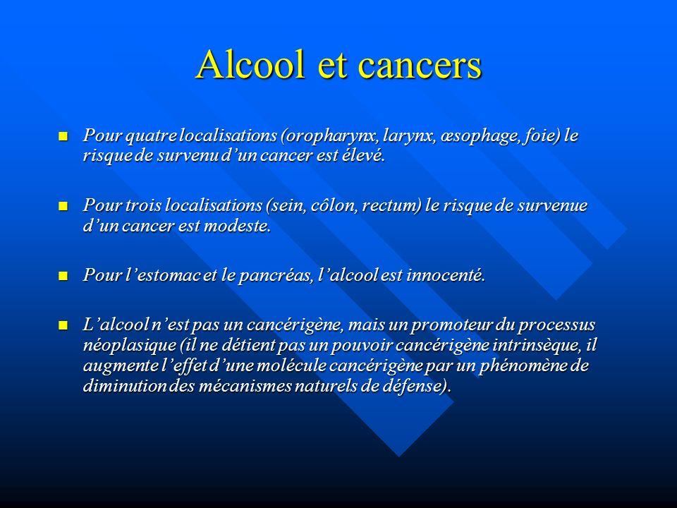Alcool et cancers Pour quatre localisations (oropharynx, larynx, œsophage, foie) le risque de survenu dun cancer est élevé. Pour quatre localisations