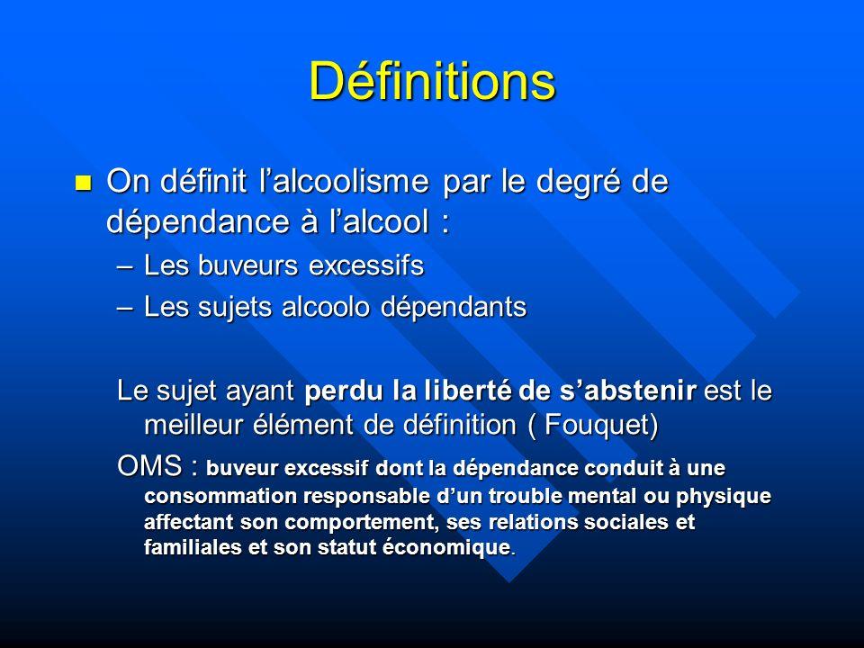 Définitions On définit lalcoolisme par le degré de dépendance à lalcool : On définit lalcoolisme par le degré de dépendance à lalcool : –Les buveurs e