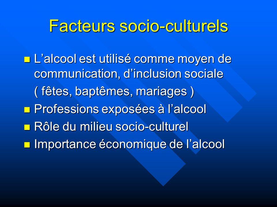 Facteurs socio-culturels Lalcool est utilisé comme moyen de communication, dinclusion sociale Lalcool est utilisé comme moyen de communication, dinclu