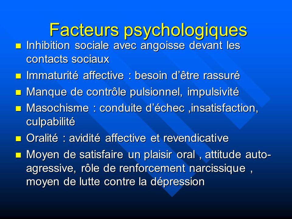 Facteurs psychologiques Inhibition sociale avec angoisse devant les contacts sociaux Inhibition sociale avec angoisse devant les contacts sociaux Imma
