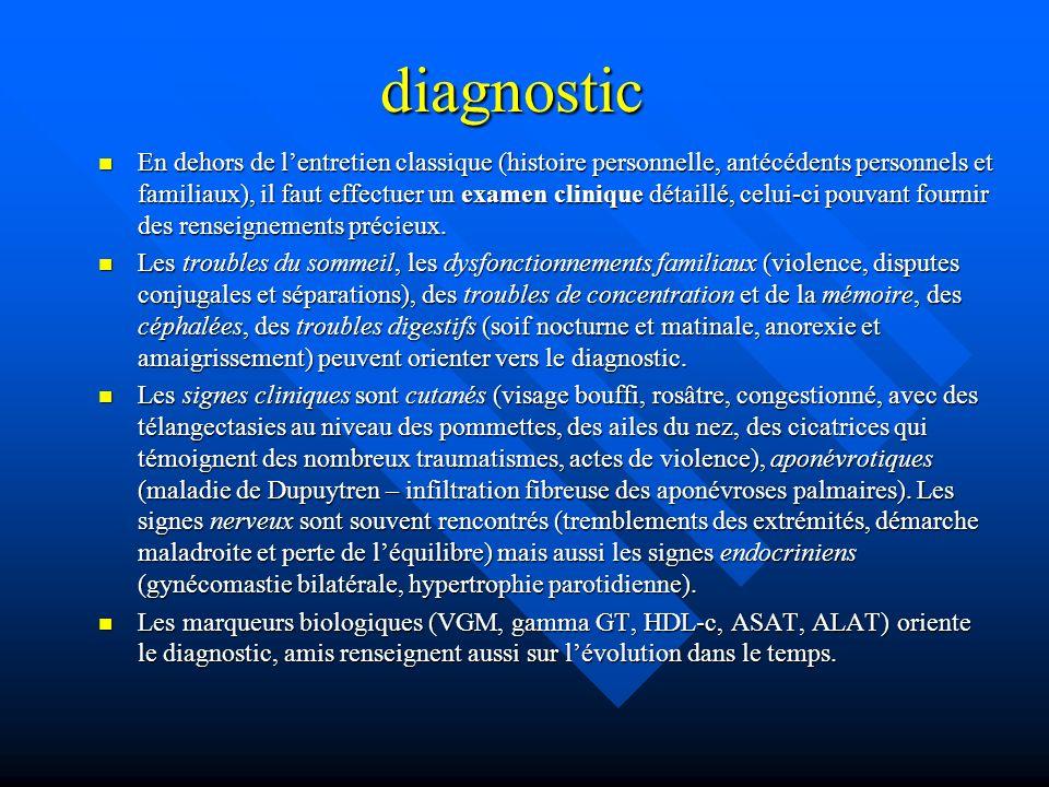 diagnostic En dehors de lentretien classique (histoire personnelle, antécédents personnels et familiaux), il faut effectuer un examen clinique détaill