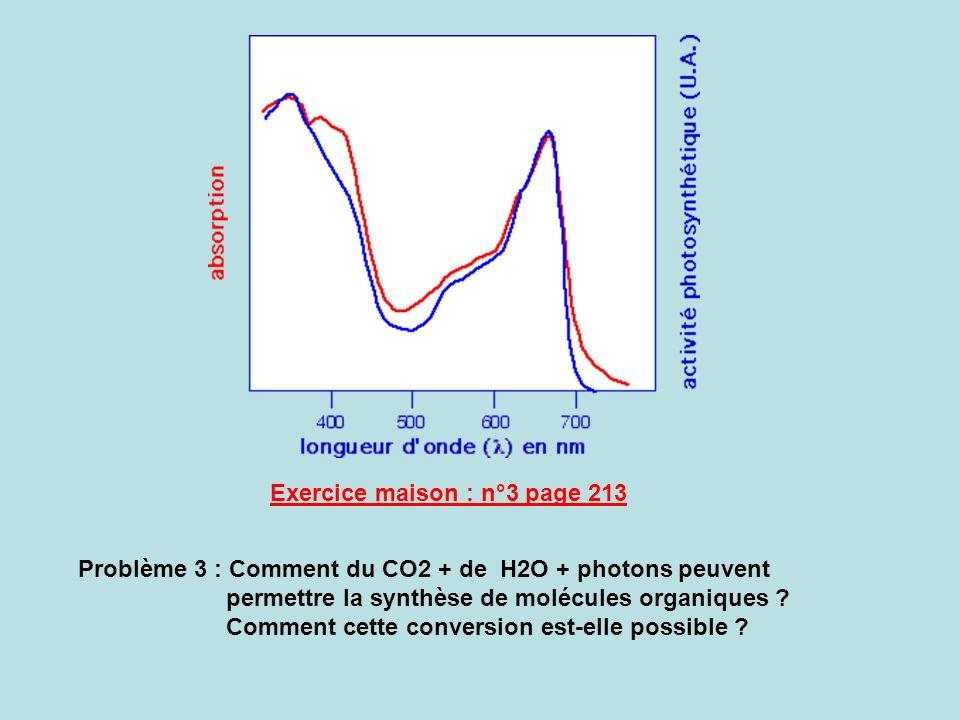 Problème 3 : Comment du CO2 + de H2O + photons peuvent permettre la synthèse de molécules organiques ? Comment cette conversion est-elle possible ? Ex