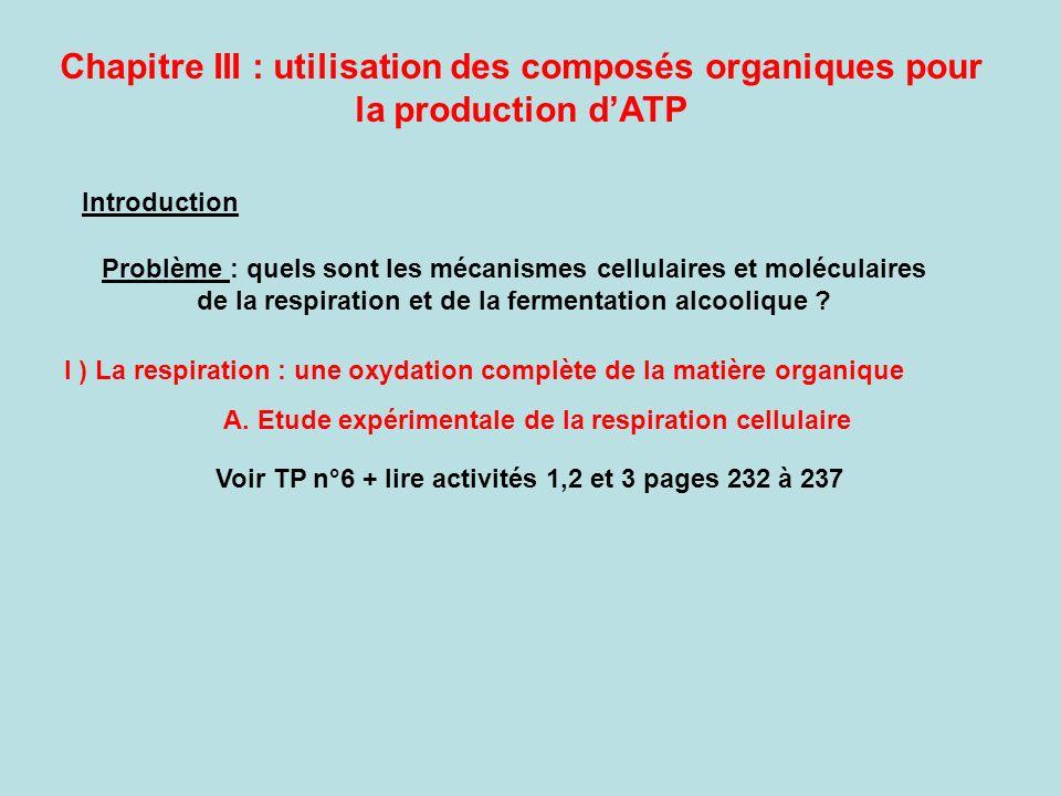 Chapitre III : utilisation des composés organiques pour la production dATP Introduction Problème : quels sont les mécanismes cellulaires et moléculair