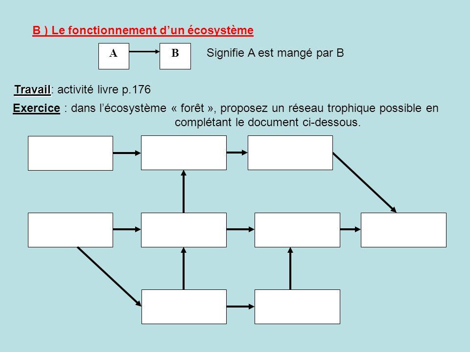 B ) Le fonctionnement dun écosystème AB Signifie A est mangé par B Exercice : dans lécosystème « forêt », proposez un réseau trophique possible en com