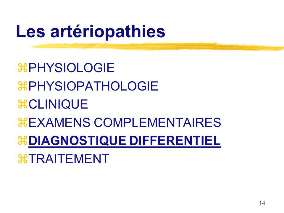 14 Les artériopathies zPHYSIOLOGIE zPHYSIOPATHOLOGIE zCLINIQUE zEXAMENS COMPLEMENTAIRES zDIAGNOSTIQUE DIFFERENTIEL zTRAITEMENT
