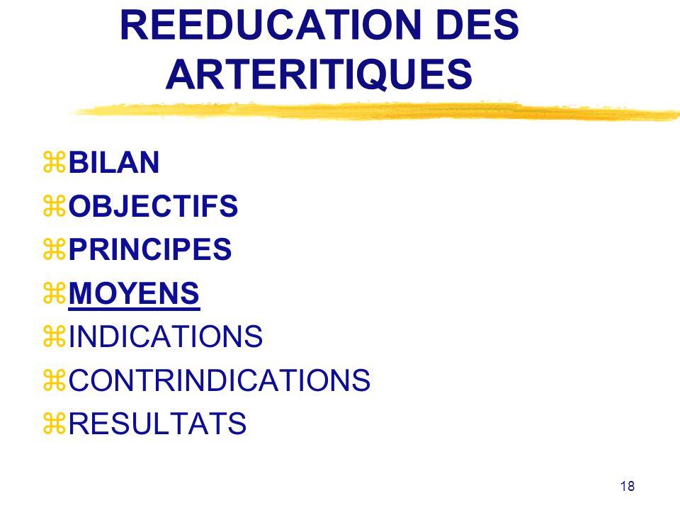 18 REEDUCATION DES ARTERITIQUES zBILAN zOBJECTIFS zPRINCIPES zMOYENS zINDICATIONS zCONTRINDICATIONS zRESULTATS