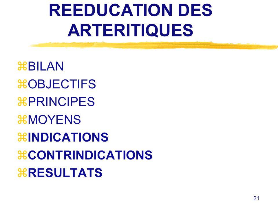 21 REEDUCATION DES ARTERITIQUES zBILAN zOBJECTIFS zPRINCIPES zMOYENS zINDICATIONS zCONTRINDICATIONS zRESULTATS