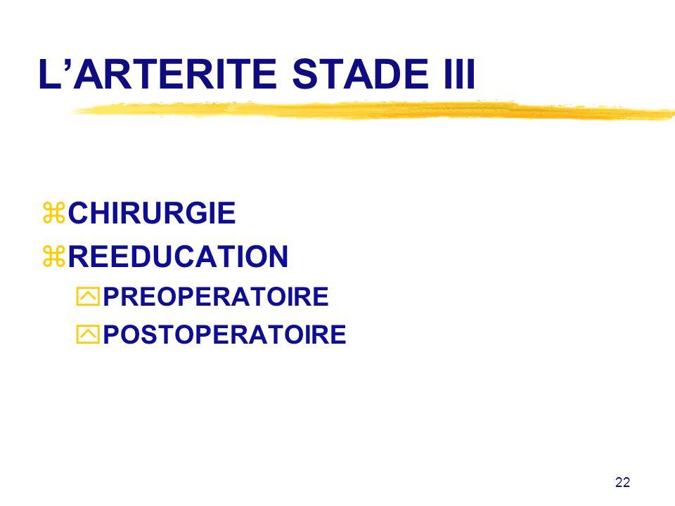 22 LARTERITE STADE III zCHIRURGIE zREEDUCATION yPREOPERATOIRE yPOSTOPERATOIRE