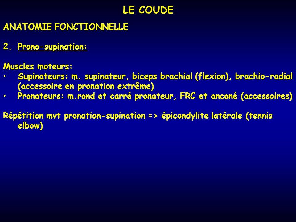 LE COUDE ANATOMIE FONCTIONNELLE 2.Prono-supination: Muscles moteurs: Supinateurs: m. supinateur, biceps brachial (flexion), brachio-radial (accessoire