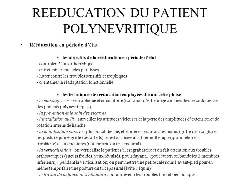 REEDUCATION DU PATIENT POLYNEVRITIQUE Rééducation en période détat les objectifs de la rééducation en période détat - contrôler létat orthopédique - e