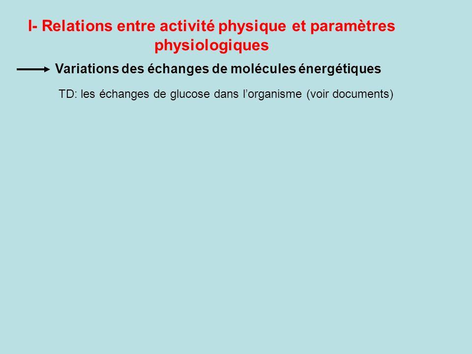 I- Relations entre activité physique et paramètres physiologiques Variations des échanges de molécules énergétiques TD: les échanges de glucose dans l
