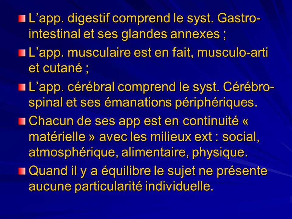 Lapp. digestif comprend le syst. Gastro- intestinal et ses glandes annexes ; Lapp. musculaire est en fait, musculo-arti et cutané ; Lapp. cérébral com