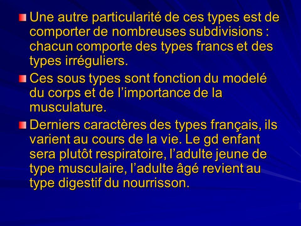 Une autre particularité de ces types est de comporter de nombreuses subdivisions : chacun comporte des types francs et des types irréguliers. Ces sous