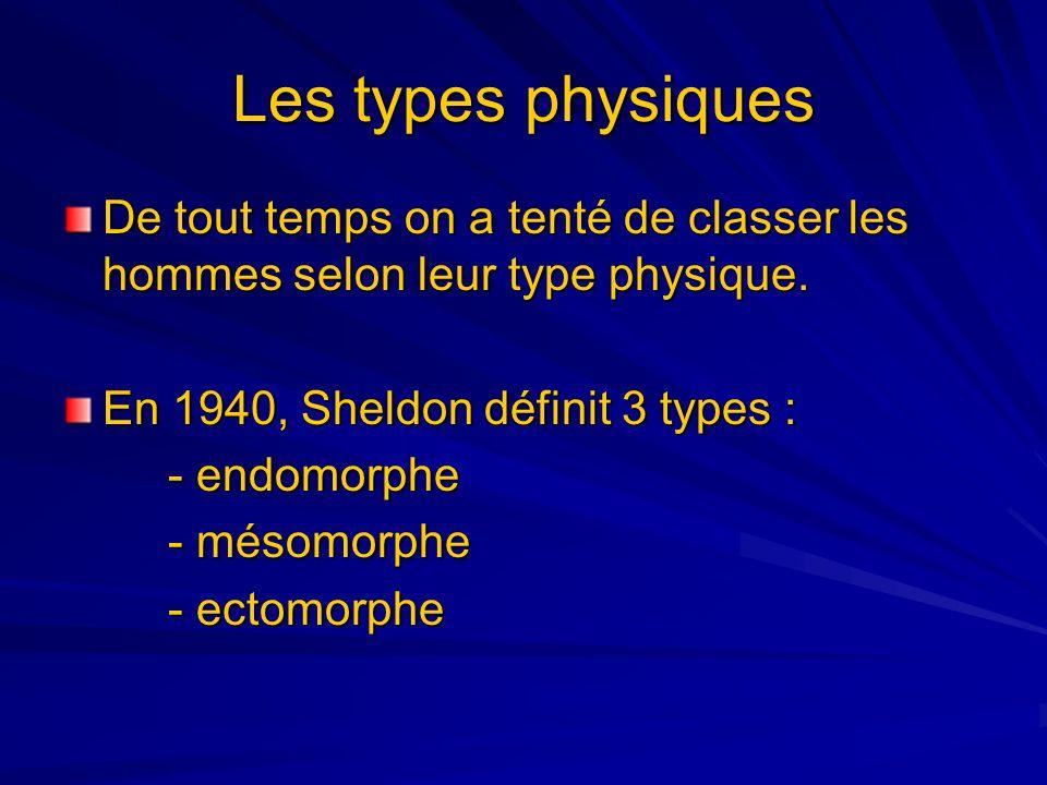 Les types physiques De tout temps on a tenté de classer les hommes selon leur type physique. En 1940, Sheldon définit 3 types : - endomorphe - mésomor
