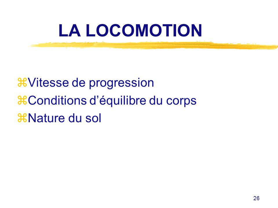 26 LA LOCOMOTION zVitesse de progression zConditions déquilibre du corps zNature du sol