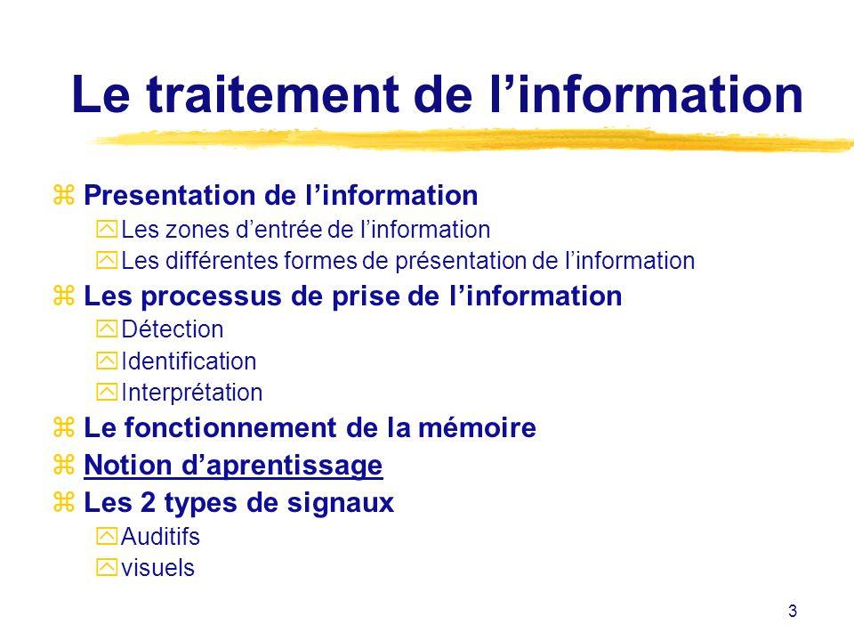 3 Le traitement de linformation zPresentation de linformation yLes zones dentrée de linformation yLes différentes formes de présentation de linformati