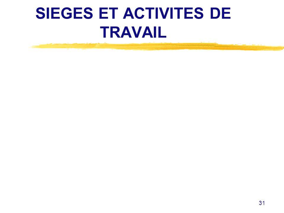 31 SIEGES ET ACTIVITES DE TRAVAIL
