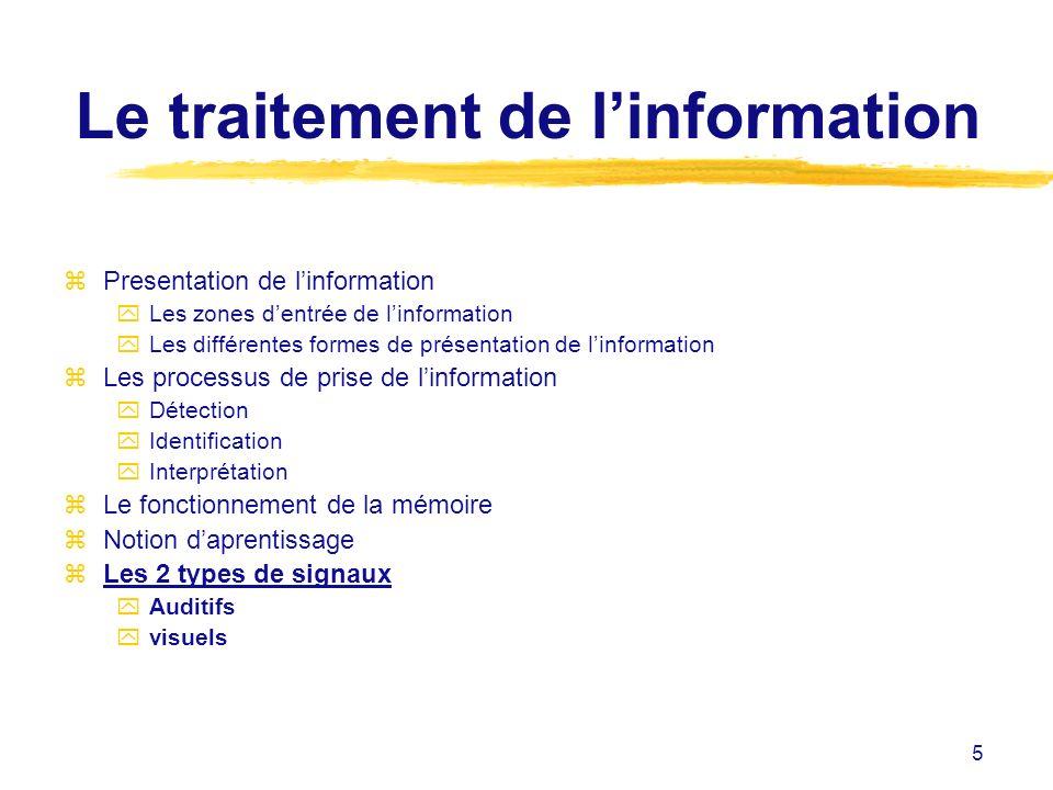 5 Le traitement de linformation zPresentation de linformation yLes zones dentrée de linformation yLes différentes formes de présentation de linformati
