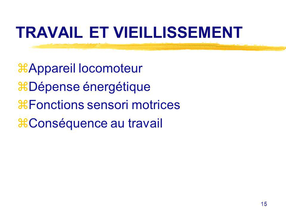 15 TRAVAIL ET VIEILLISSEMENT zAppareil locomoteur zDépense énergétique zFonctions sensori motrices zConséquence au travail