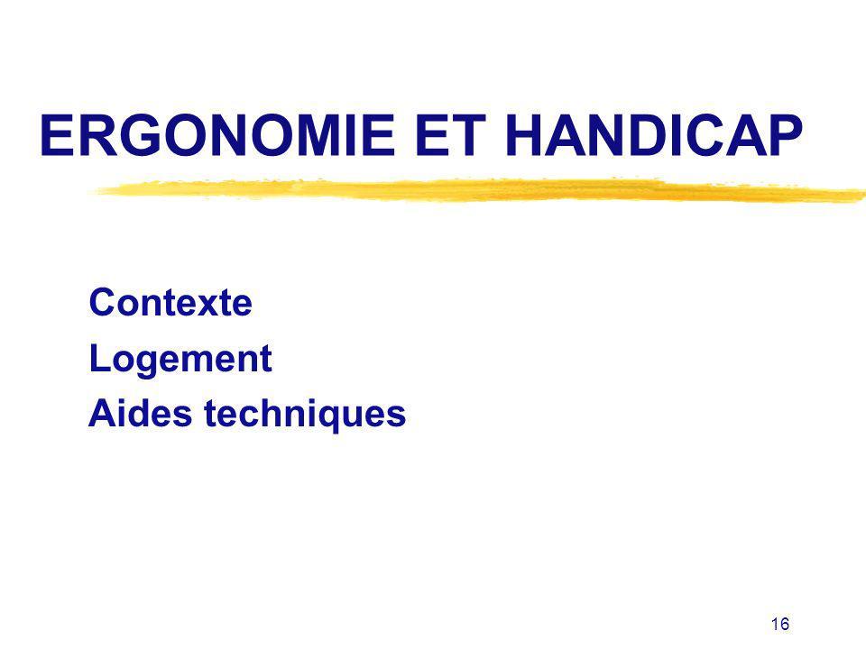 16 ERGONOMIE ET HANDICAP Contexte Logement Aides techniques