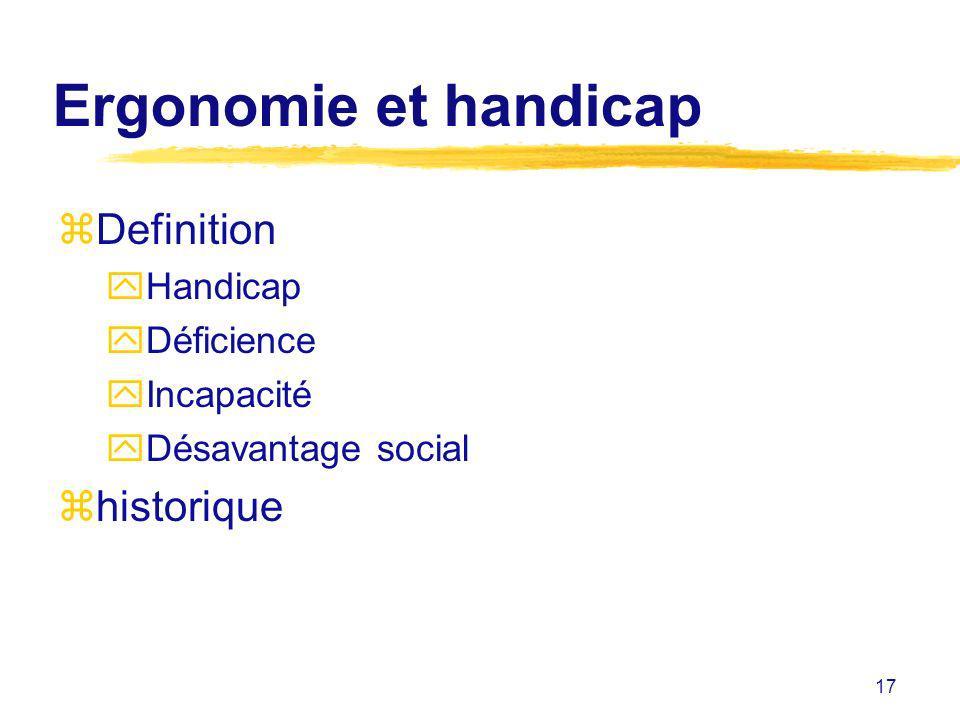 17 Ergonomie et handicap zDefinition yHandicap yDéficience yIncapacité yDésavantage social zhistorique