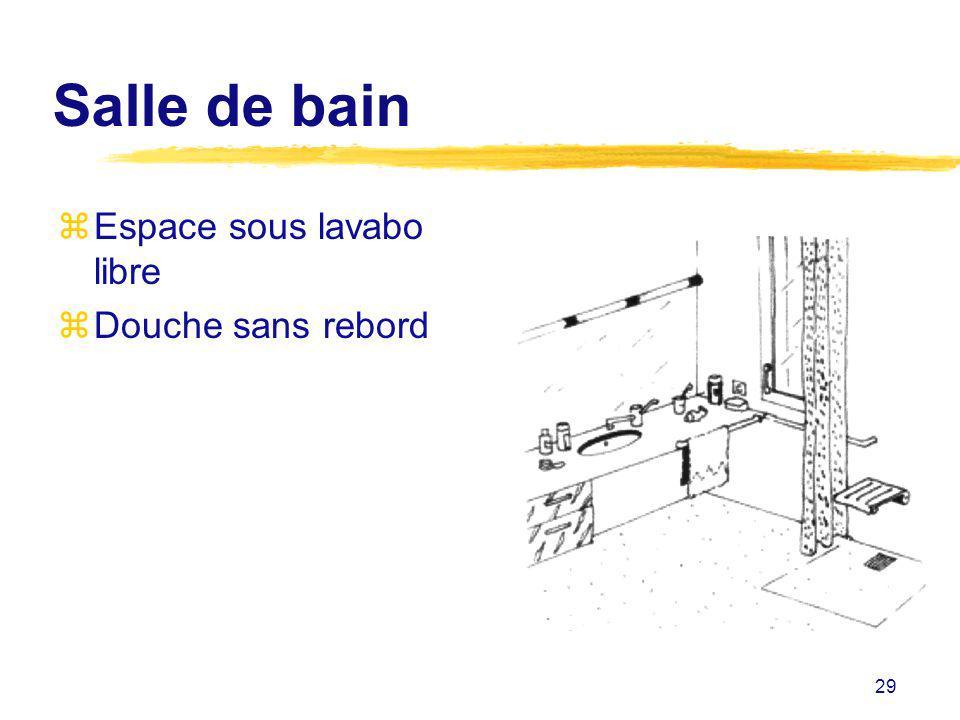 29 Salle de bain zEspace sous lavabo libre zDouche sans rebord