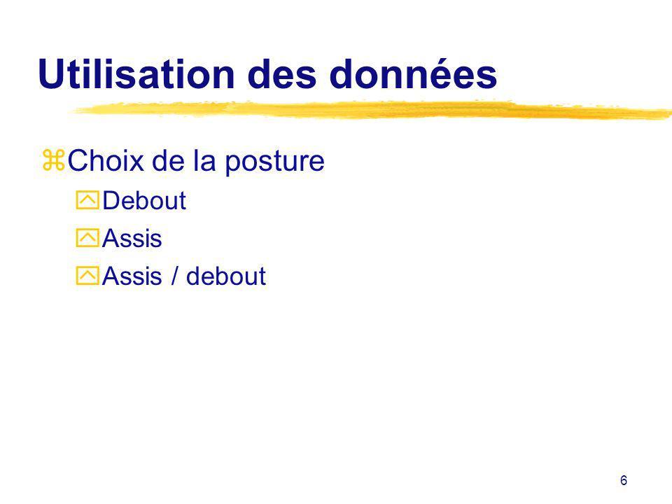 6 Utilisation des données zChoix de la posture yDebout yAssis yAssis / debout