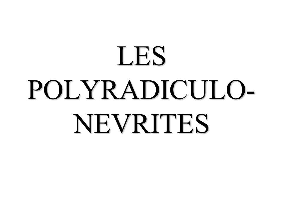 GENERALITES Les polyradiculonévrites sont des affections caractérisées par une inflammation des racines nerveuses.