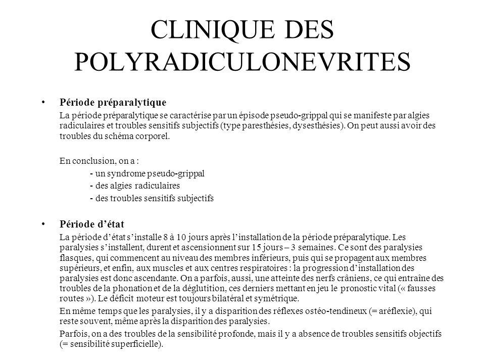 CLINIQUE DES POLYRADICULONEVRITES Période préparalytique La période préparalytique se caractérise par un épisode pseudo-grippal qui se manifeste par a