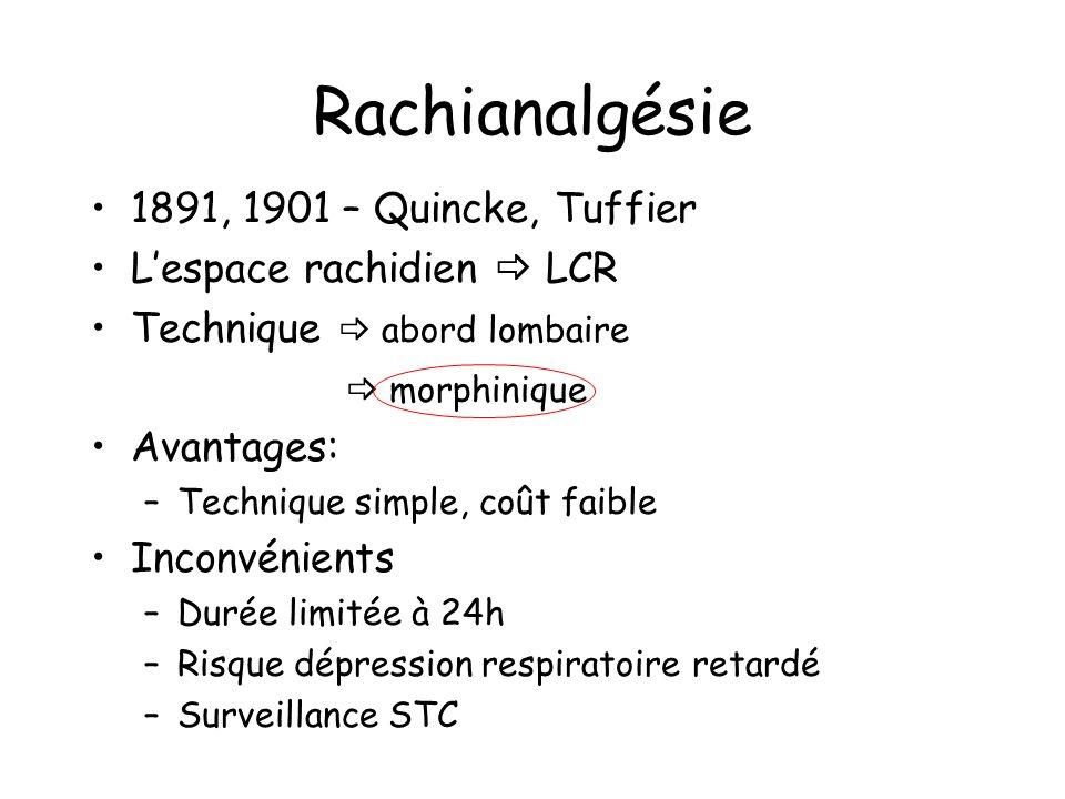 Rachianalgésie 1891, 1901 – Quincke, Tuffier Lespace rachidien LCR Technique abord lombaire morphinique Avantages: –Technique simple, coût faible Inconvénients –Durée limitée à 24h –Risque dépression respiratoire retardé –Surveillance STC