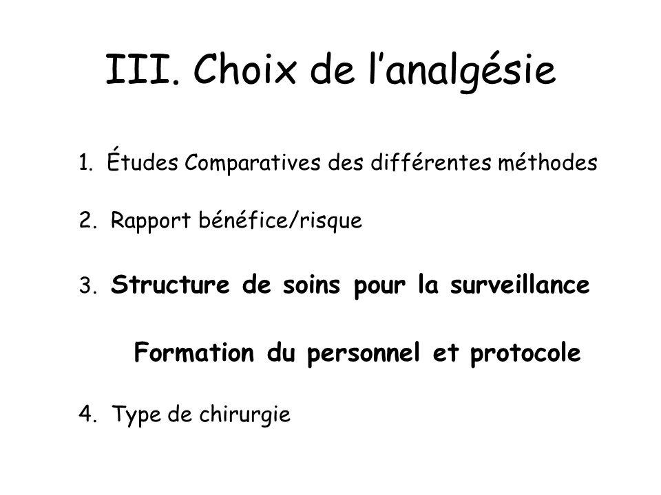 III. Choix de lanalgésie 1. Études Comparatives des différentes méthodes 2. Rapport bénéfice/risque 3. Structure de soins pour la surveillance Formati