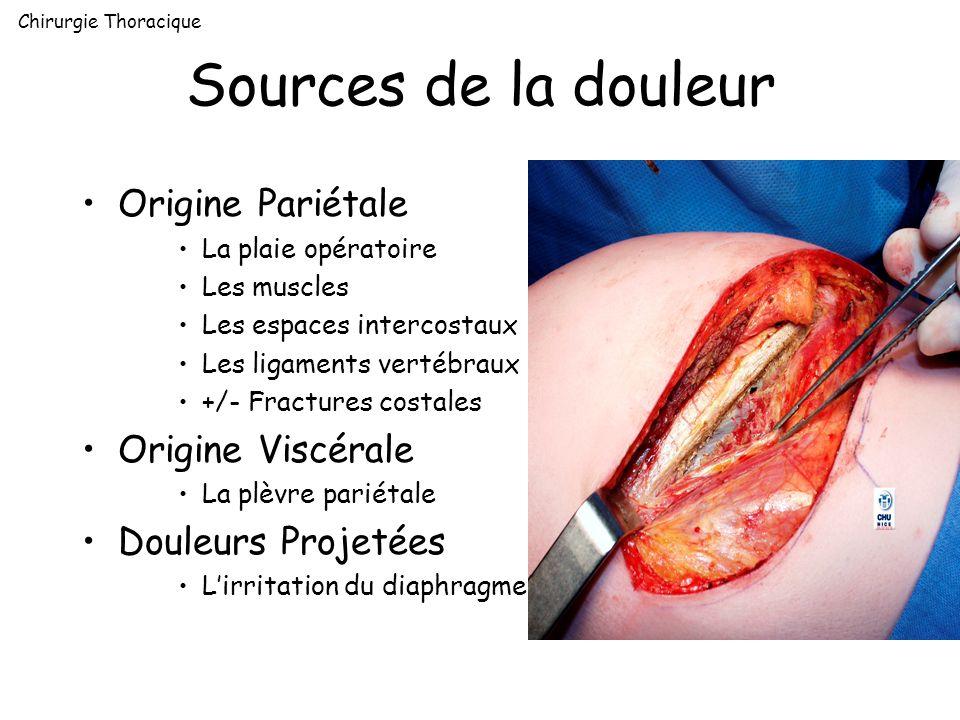 Sources de la douleur Origine Pariétale La plaie opératoire Les muscles Les espaces intercostaux Les ligaments vertébraux +/- Fractures costales Origi