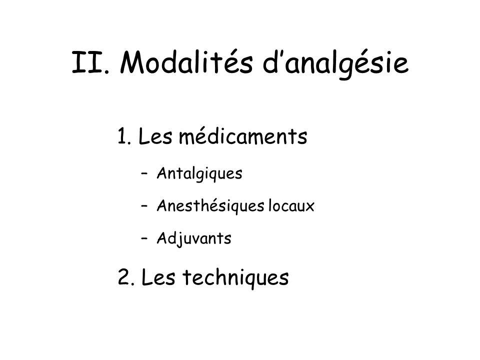 II. Modalités danalgésie 1. Les médicaments –Antalgiques –Anesthésiques locaux –Adjuvants 2. Les techniques