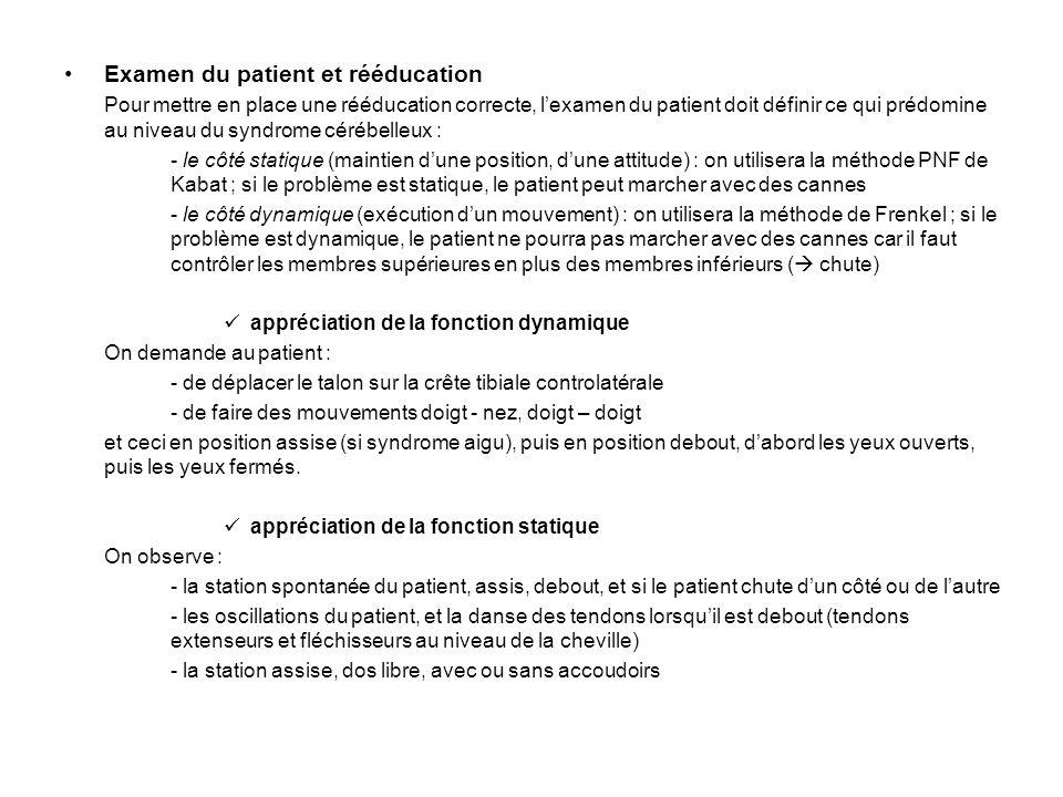Examen du patient et rééducation Pour mettre en place une rééducation correcte, lexamen du patient doit définir ce qui prédomine au niveau du syndrome
