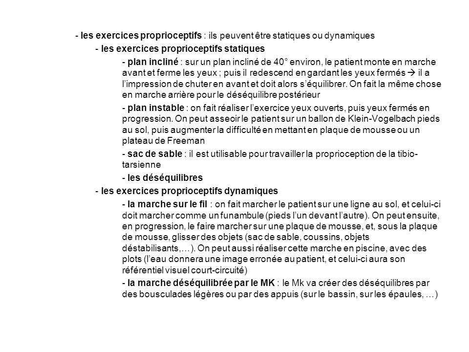 - les exercices proprioceptifs : ils peuvent être statiques ou dynamiques - les exercices proprioceptifs statiques - plan incliné : sur un plan inclin