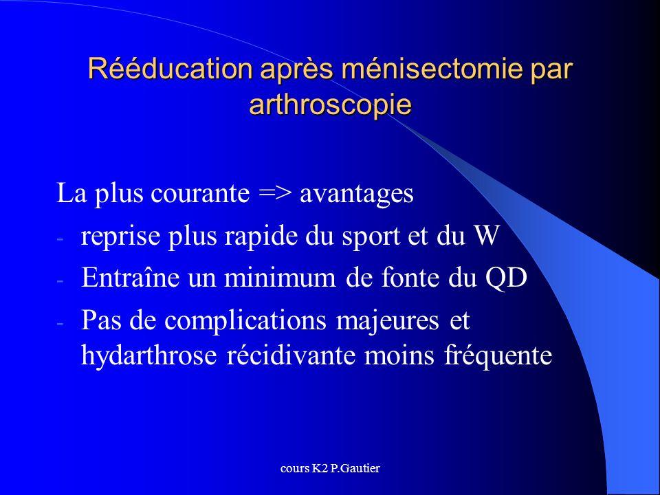 cours K2 P.Gautier Rééducation après ménisectomie par arthroscopie La plus courante => avantages - reprise plus rapide du sport et du W - Entraîne un
