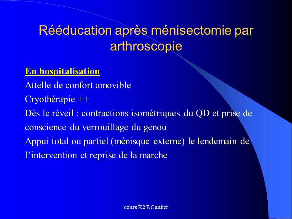 cours K2 P.Gautier Rééducation après ménisectomie par arthroscopie En hospitalisation Attelle de confort amovible Cryothérapie ++ Dès le réveil : cont