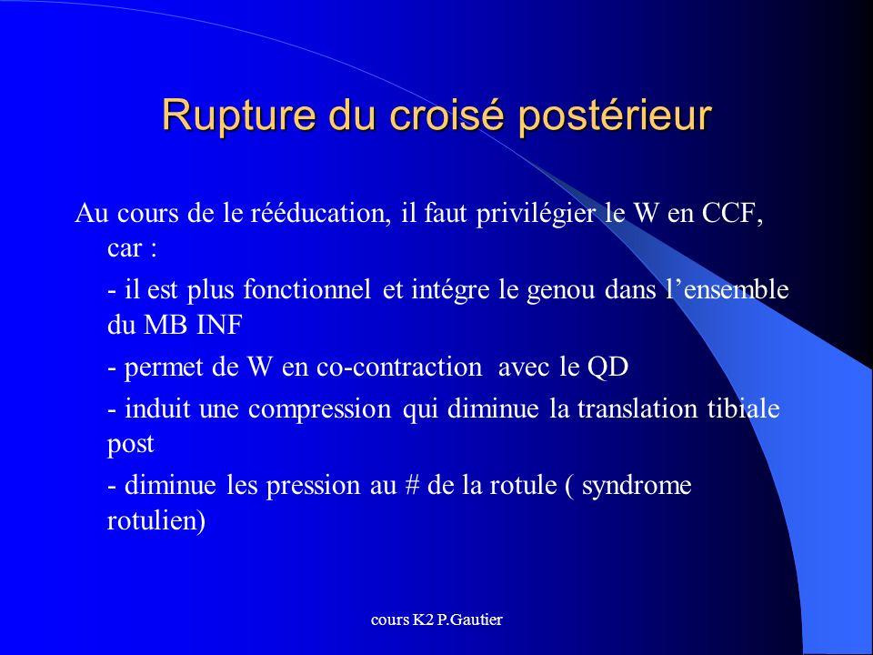 cours K2 P.Gautier Rupture du croisé postérieur Au cours de le rééducation, il faut privilégier le W en CCF, car : - il est plus fonctionnel et intégr