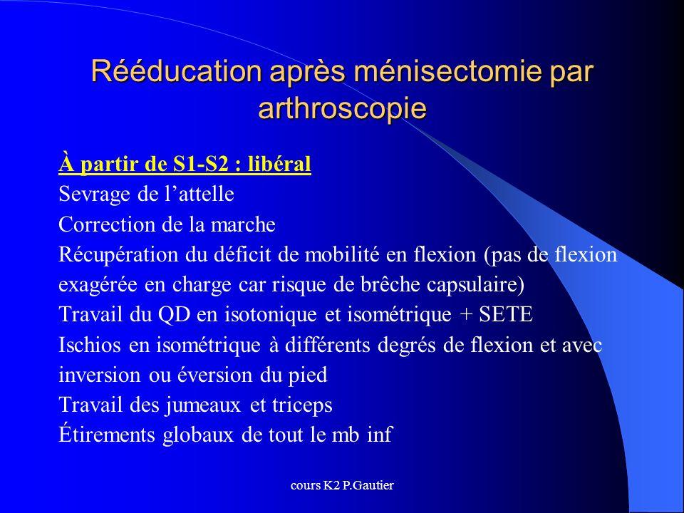 cours K2 P.Gautier Rééducation après ménisectomie par arthroscopie À partir de S1-S2 : libéral Sevrage de lattelle Correction de la marche Récupératio