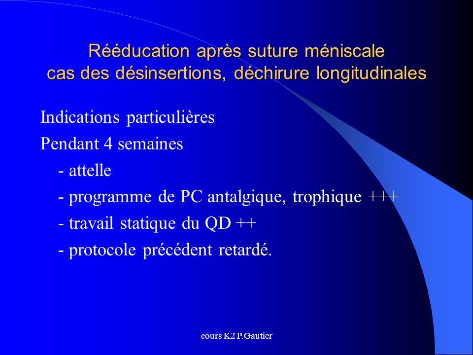 cours K2 P.Gautier Rééducation après suture méniscale cas des désinsertions, déchirure longitudinales Indications particulières Pendant 4 semaines - a