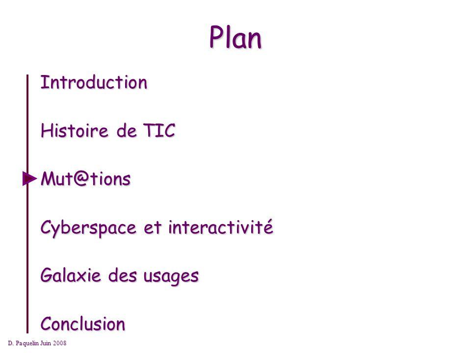 Plan Introduction Histoire de TIC Mut@tions Cyberspace et interactivité Galaxie des usages Conclusion D.