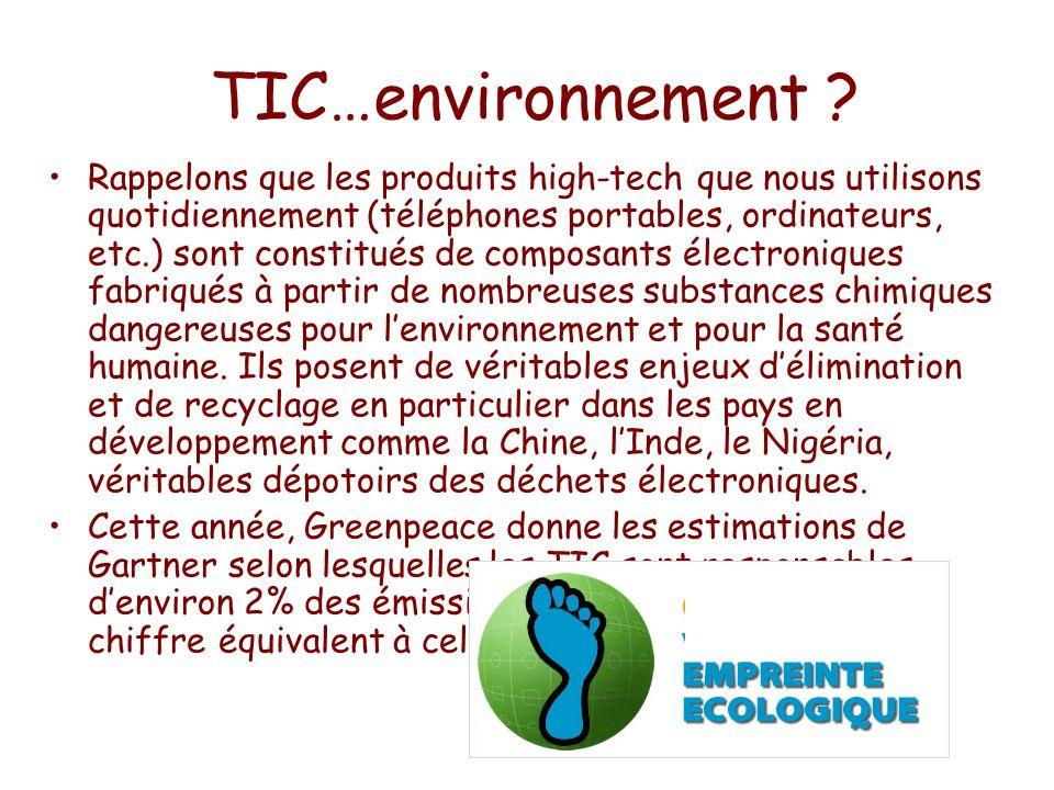 TIC…environnement ? Rappelons que les produits high-tech que nous utilisons quotidiennement (téléphones portables, ordinateurs, etc.) sont constitués