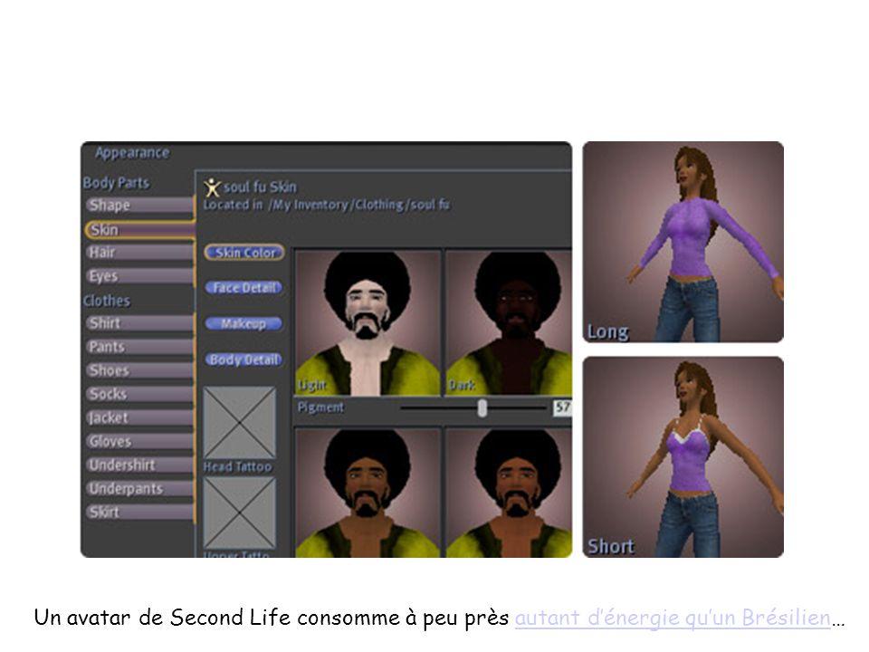 Un avatar de Second Life consomme à peu près autant dénergie quun Brésilien…autant dénergie quun Brésilien