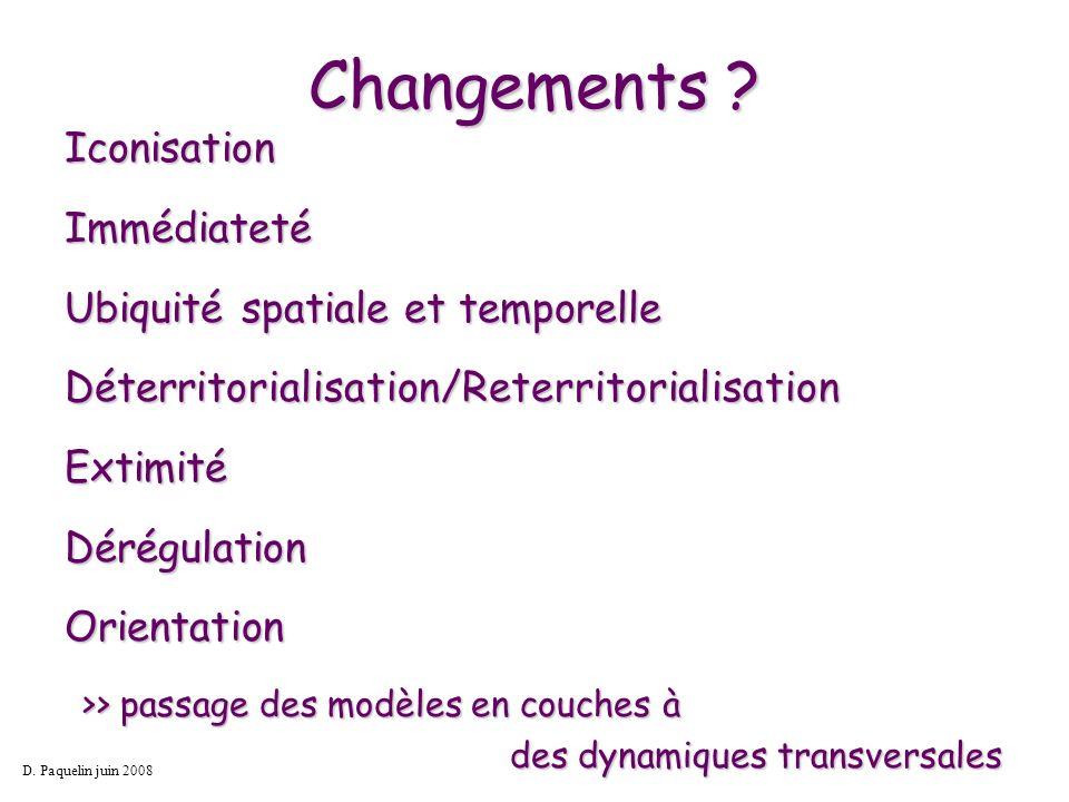 Changements ? IconisationImmédiateté Ubiquité spatiale et temporelle Déterritorialisation/ReterritorialisationExtimitéDérégulation Orientation D. Paqu