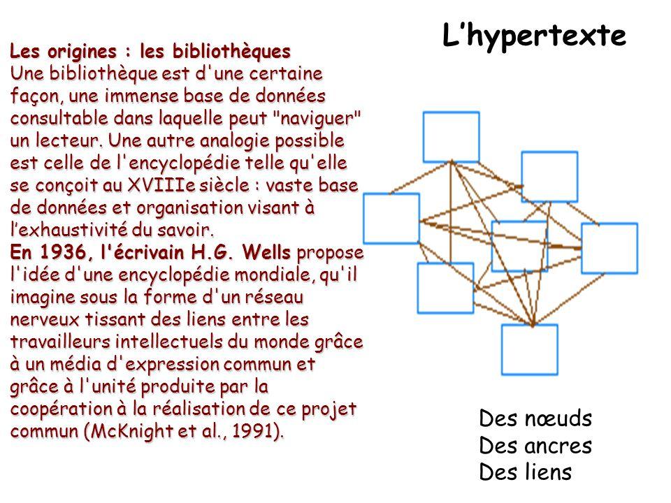 Lhypertexte Les origines : les bibliothèques Une bibliothèque est d une certaine façon, une immense base de données consultable dans laquelle peut naviguer un lecteur.